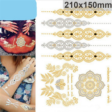 New Arrival sex products necklace bracelets tattoo metal temporary tattoo women flash metalic fake gold silver tattoos(China (Mainland))