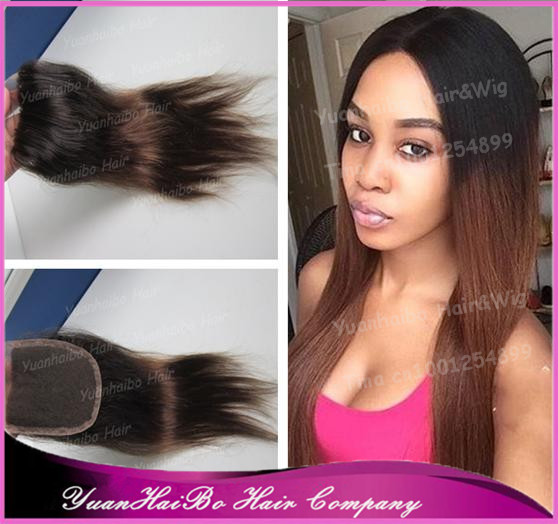 Top Quality! two tone #1b/4 silky straight virgin peruvian hair ombre lace closure bleach knots 3.5*4 free shipping<br><br>Aliexpress