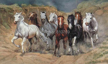 NEW 2015  hand-painted Free shipping  famous oil painting high quality Modern artists painting  Eight horses DM-20141227051(China (Mainland))