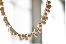 2015 New Charming Women s Fashion Shiny Alloy Golden Rhinestone Faux Pearl Beads Necklace Jewelry For