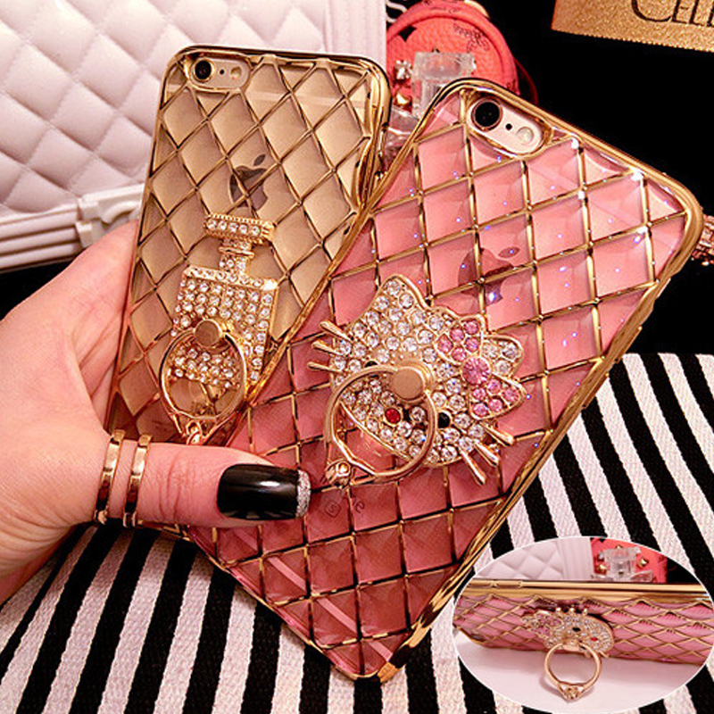 Luxury 3D Cute KT Cat Metal Ring Holder Stand Phone Cases For iPhone 6 6S 6/6S Plus Grid Electroplating Diamond Bling Phone Bag(China (Mainland))