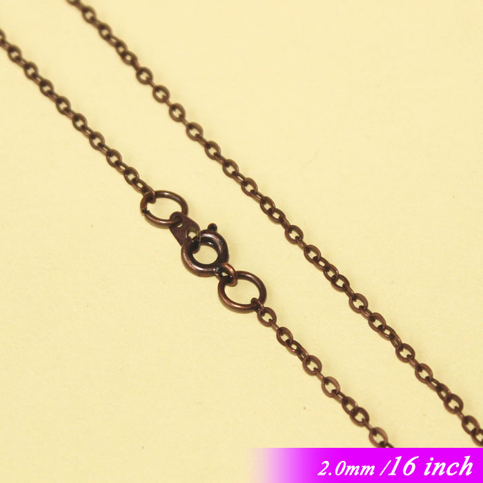 2mm Antique Copper Plated Jewelry Flat Cable Links 16  With Round Clasps Connectors For Necklace Chains Pendants diy Findings<br><br>Aliexpress