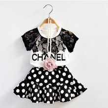 2016 New Summer Girls Clothing Set Baby Girl's Sets(T-shirt+Skirt) Fashon casual kids suit for 1-6 Years children suits(China (Mainland))