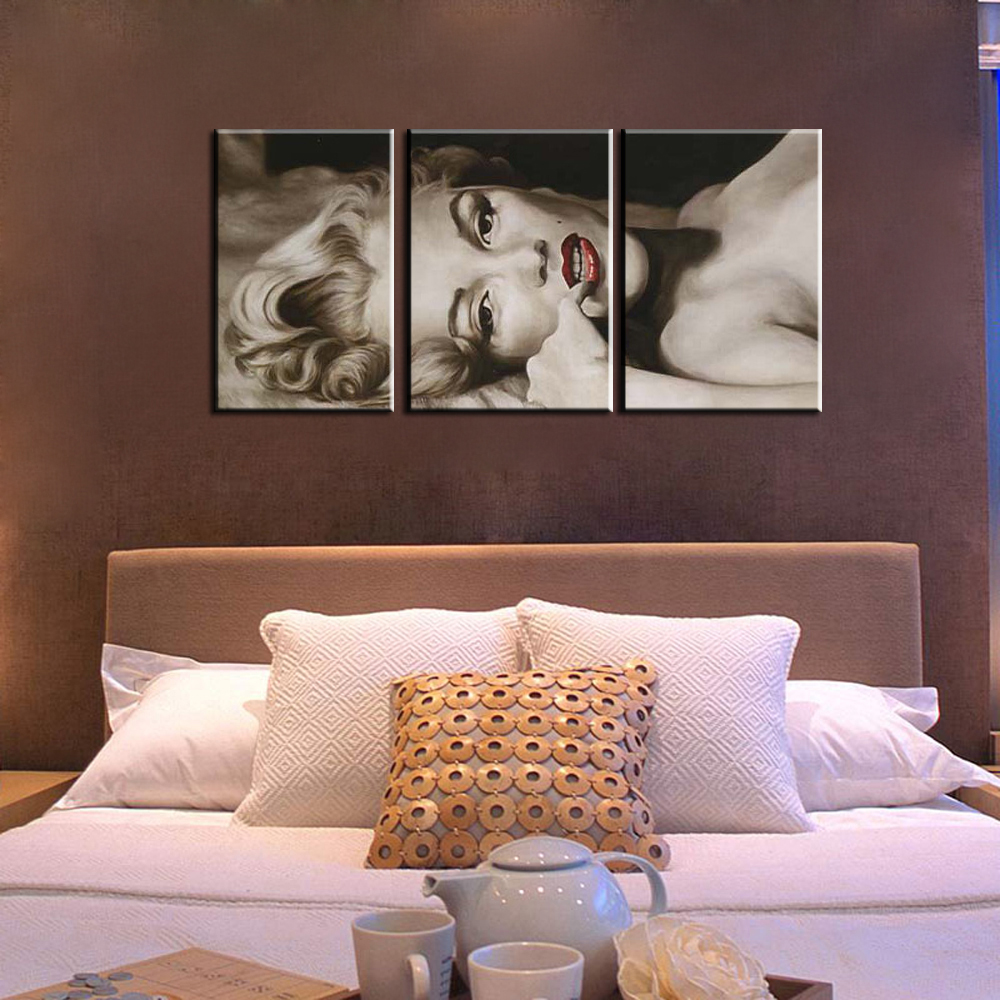 3 Piece Abstract Modern Handmade Black White Marilyn