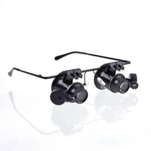 Brand new Glasses Type 20X Watch Repair Magnifier with LED Light(China (Mainland))