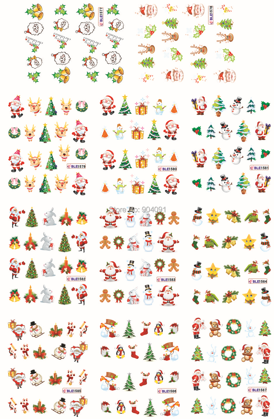HOTSALE LARGE 1 SET(11 DESIGNS IN 1 set) Christmas nail sticker DECAL BLE1577-1587 Serie nail art tool for water sticker(China (Mainland))
