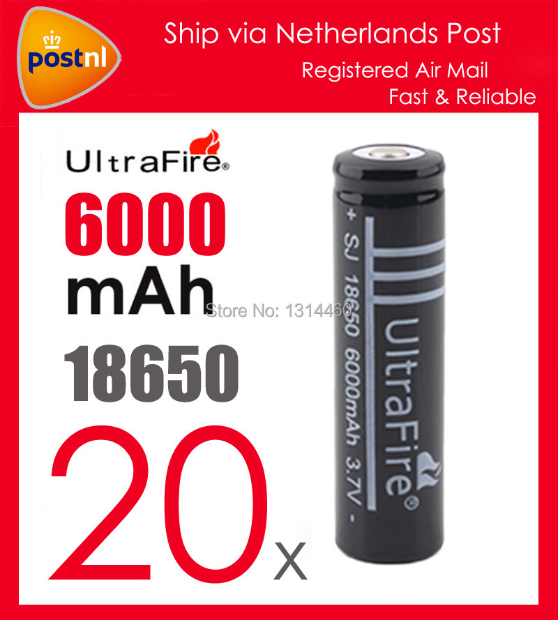 20PCS/Lot Ultrafire 18650 Lithium Battery 3.7V 6000mAh Rechargeable Li-ion Battery Camera Flashlight Torch 18650 Lithium Battery(China (Mainland))