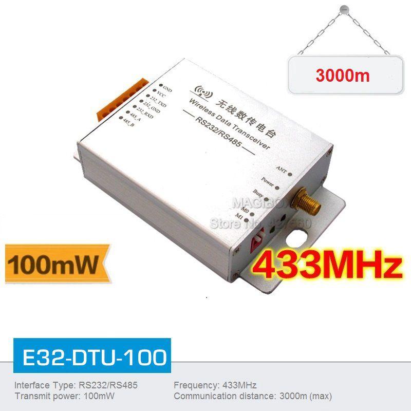 (E30-DTU-100) 433MHz Wireless Data Transceiver Kit RS485/RS232 Interface Transparent transmission(Max 2000m) +2m Sucker Antenna<br><br>Aliexpress