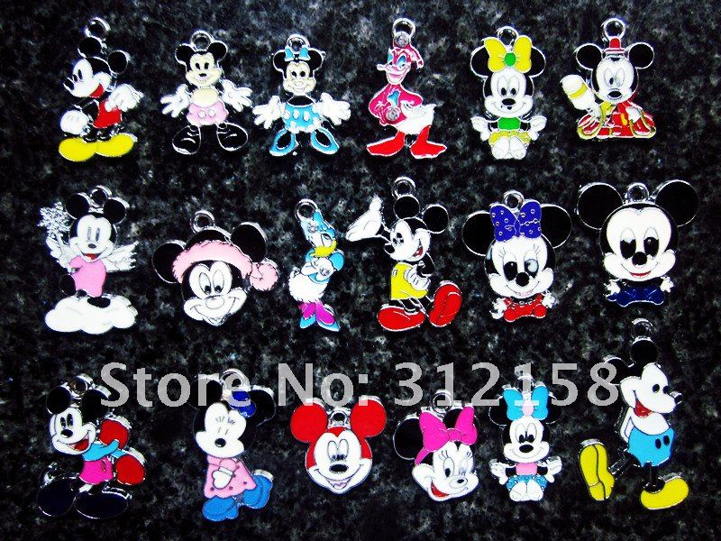 s1100 Free Shipping 100Pcs/Lots Alloy Mickey Mouse Kitty Charms(China (Mainland))
