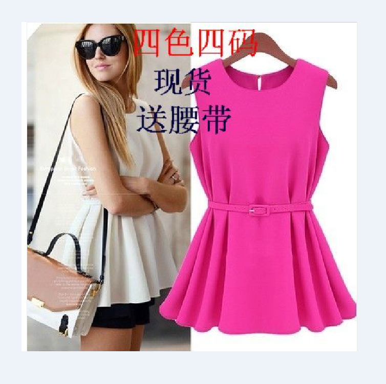 2015 Hot Sale O-neck Blouse Women Tops New Women In Europe And The Ol Summer Loose Knit Chiffon Pleated Code Small Skirt Dress(China (Mainland))