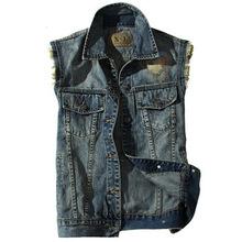 New men's sleeveless jeans short jacket jeans vest motorcycle jeans men demin denim vest(China (Mainland))