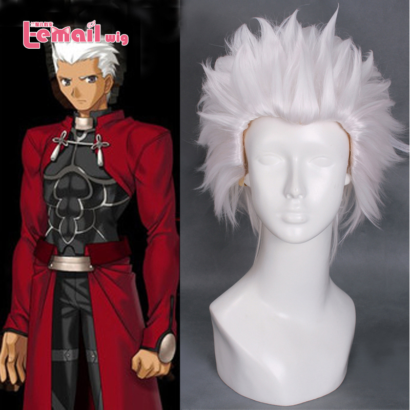 Men 28cm Short White Anime Fate Stay Night Archer Wig Cosplay Heat Resistent Cos Hair <br><br>Aliexpress