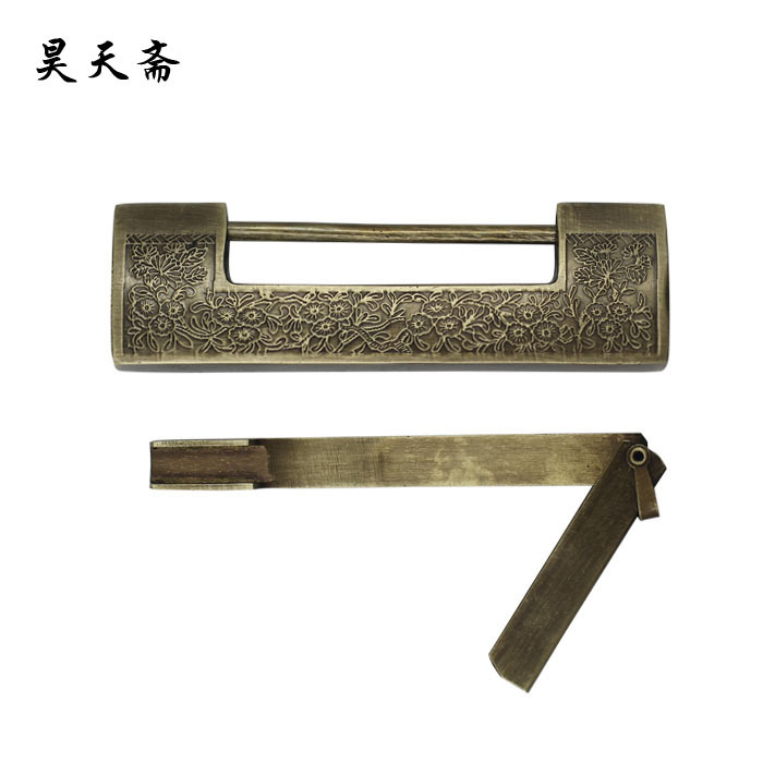 [Haotian vegetarian] Chinese antique brass lock padlock carved wooden doors Tongsuo 12CM HTH-008(China (Mainland))