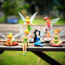 New 6pcs Tinker Bell Fairies Princess Figures PVC Doll Toy Cake Topper Kids Tinker Bell Fairies Toys Free Shipping(China (Mainland))