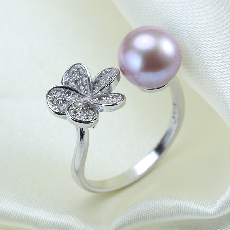 New Fashion Beautiful Flower Pearl Ring AAAA High Quality Jewelry Sterling Silver Jewelry For Girl white/pink/purple 3 Color(China (Mainland))