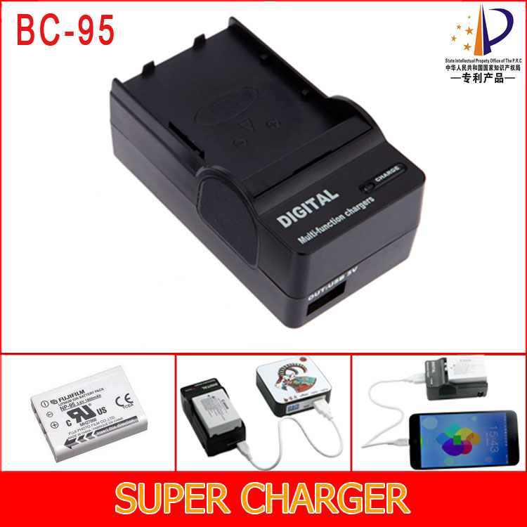 BC-95 Battery Charger for NP-95 NP95 Battery Fits Fujifilm F30 3D W1 X-S1 X100 A12 RICOH GXR GR LENS A12 S10 P10 Digital Camera(China (Mainland))