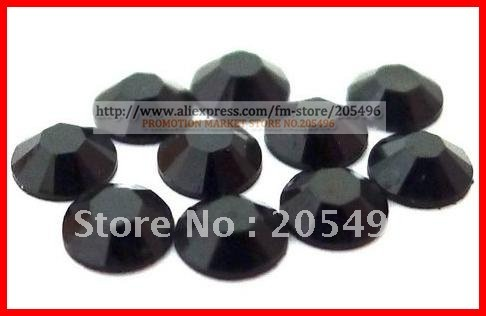 Free shipping 10000pcs SS12 3.0mm black crystal resin rhinestones beads round faceted flats back for DIY nail art jewelry shoes(China (Mainland))