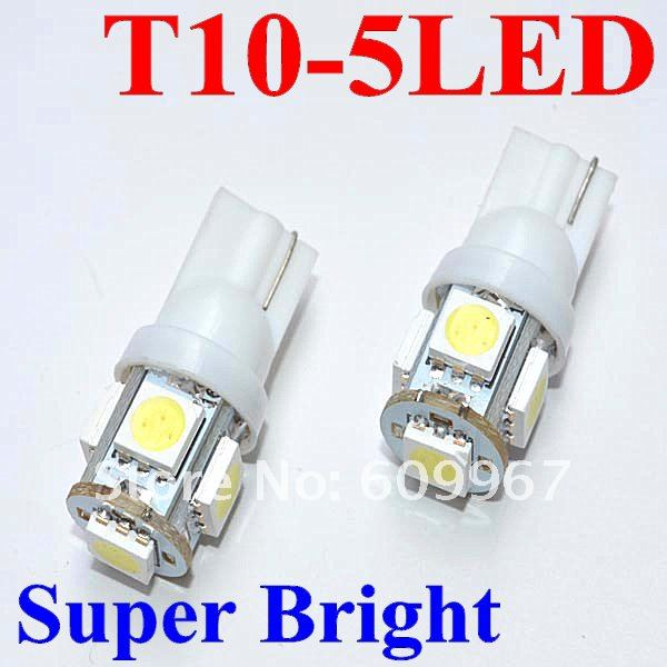 Free Shipping! 10pcs T10 5LED SMD Car Bulb Car Auto LED T10 194 W5W 5050 Wedge Light Bulb Lamp 5SMD White/Green/Blue/Red/Yellow<br><br>Aliexpress