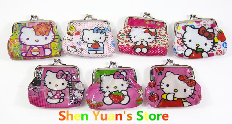 Wholesale 12pcs/lot Hello Kitty Coin Purses Wallet 10 Design Mini Coin Purse Cheap Mini Wallets kawayi anime(China (Mainland))