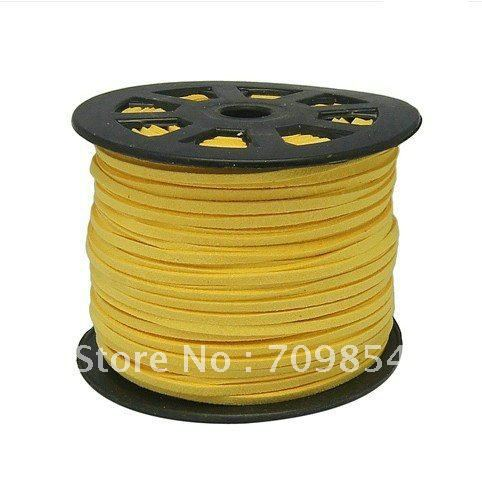 free shipping!!! 200M/package 3mm yellow geunine suede Leather Cord<br><br>Aliexpress
