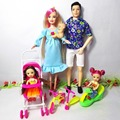 Toys Family 5 People Dolls Suits 1Mom 1Dad 2 Little Kelly Girl 1 Baby Son 1