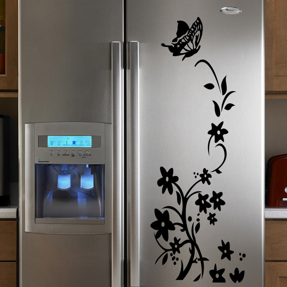 60X130cm Removable Fridge Stickers Elegant Flower Cirrus Paster Tags Home Bed Room Garderobe Fridge Chest Decoration(China (Mainland))