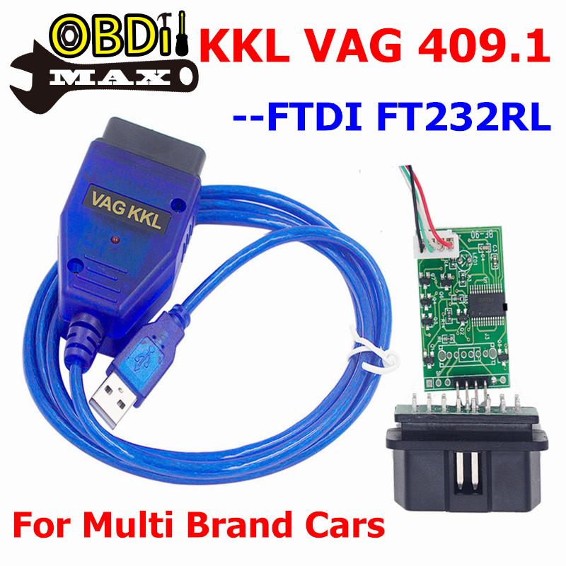 Best FTDI FT232RL Chip VAG409.1 KKL VAG 409.1 With K-Line VAG409 OBD2 OBDII Car USB Diagnostic Cable VAG 409 Add For Fiat Cars(China (Mainland))