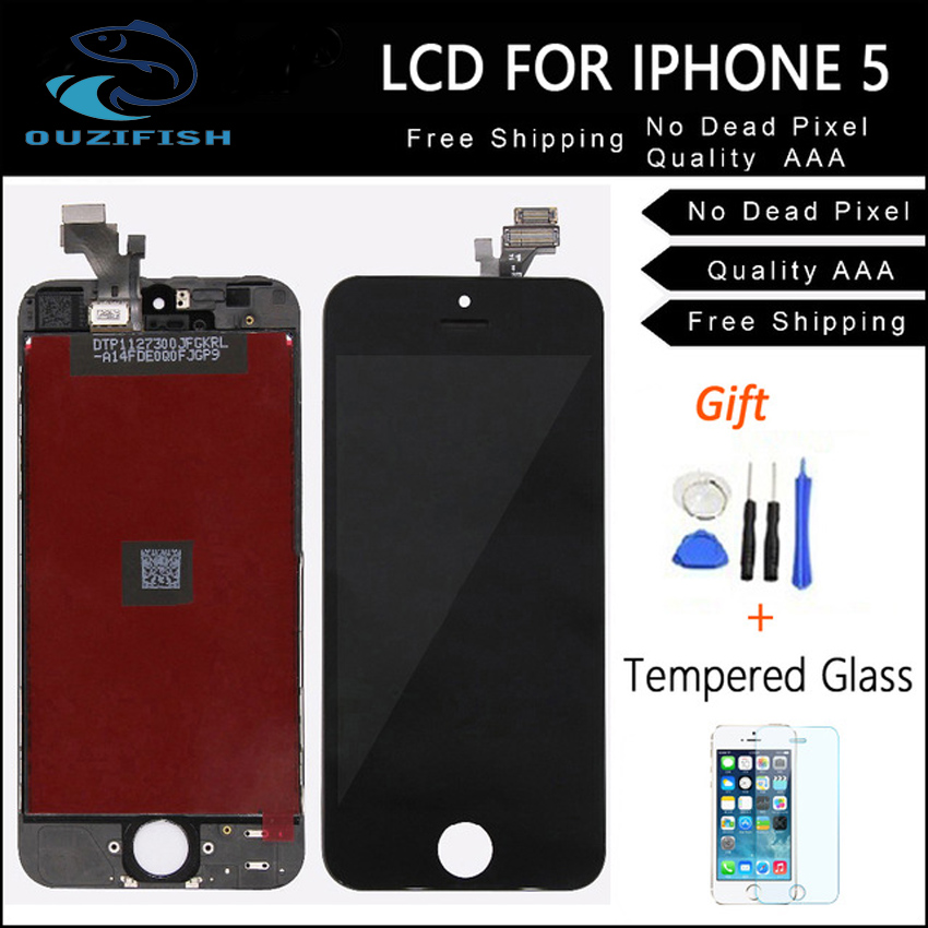 OUZIFISH For iphone 4 4S Replacement full screen for iPhone 5 5G 5S 5C lcd display with touch digitizer assembly + film + tools(China (Mainland))