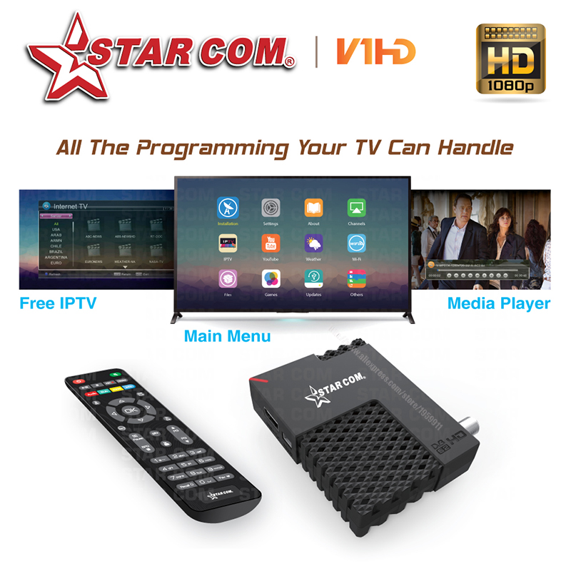 STARCOM V01 MINI Satellite TV Receiver Wiht IPTV DVB-S2 TV BOX Full HD Hybrid New Mini Receiver YouTube WiFi Satellite TV BOX(China (Mainland))