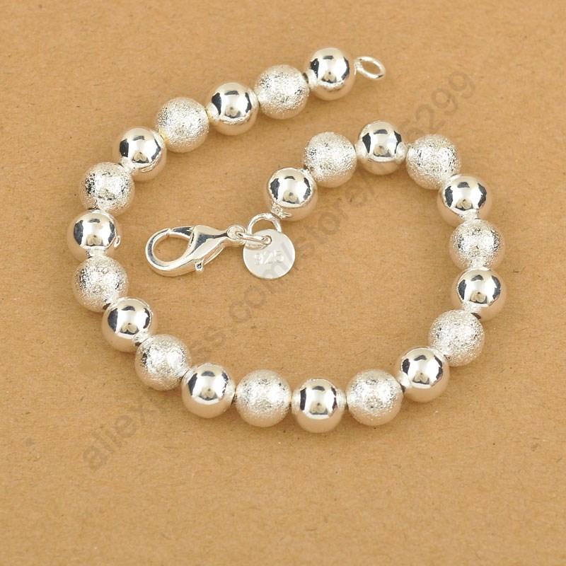 Гаджет  Classic 8mm Lucky Bead 925 Sterling Silver Ball Elegant Woman Bracelet With Good Quality Lobster Charm Jewelry  None Ювелирные изделия и часы