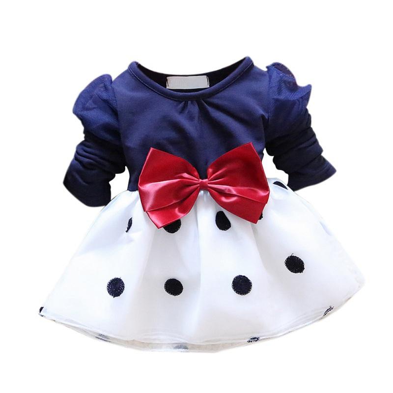 Baby Girls Korean Princess Dress Bow Dot Girls Cotton Dress Long Sleeve Dress 1 2 3 4 5 years(China (Mainland))