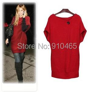 Free Shipping Womens fashion large size M-XXL slim batwing sleeve knitting cotton sweater dress red/black/gray(China (Mainland))