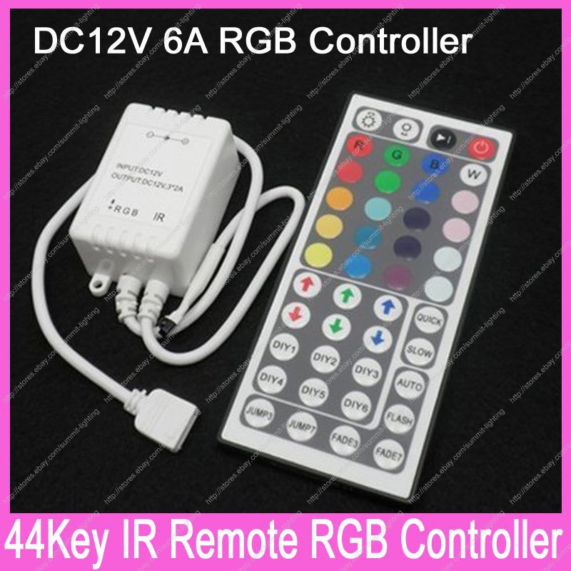 DC12V 6A 72W 3CH RGB LED Controller with 44Key IR Wieless Remote for 5050&3528 RGB LED Striplight(China (Mainland))