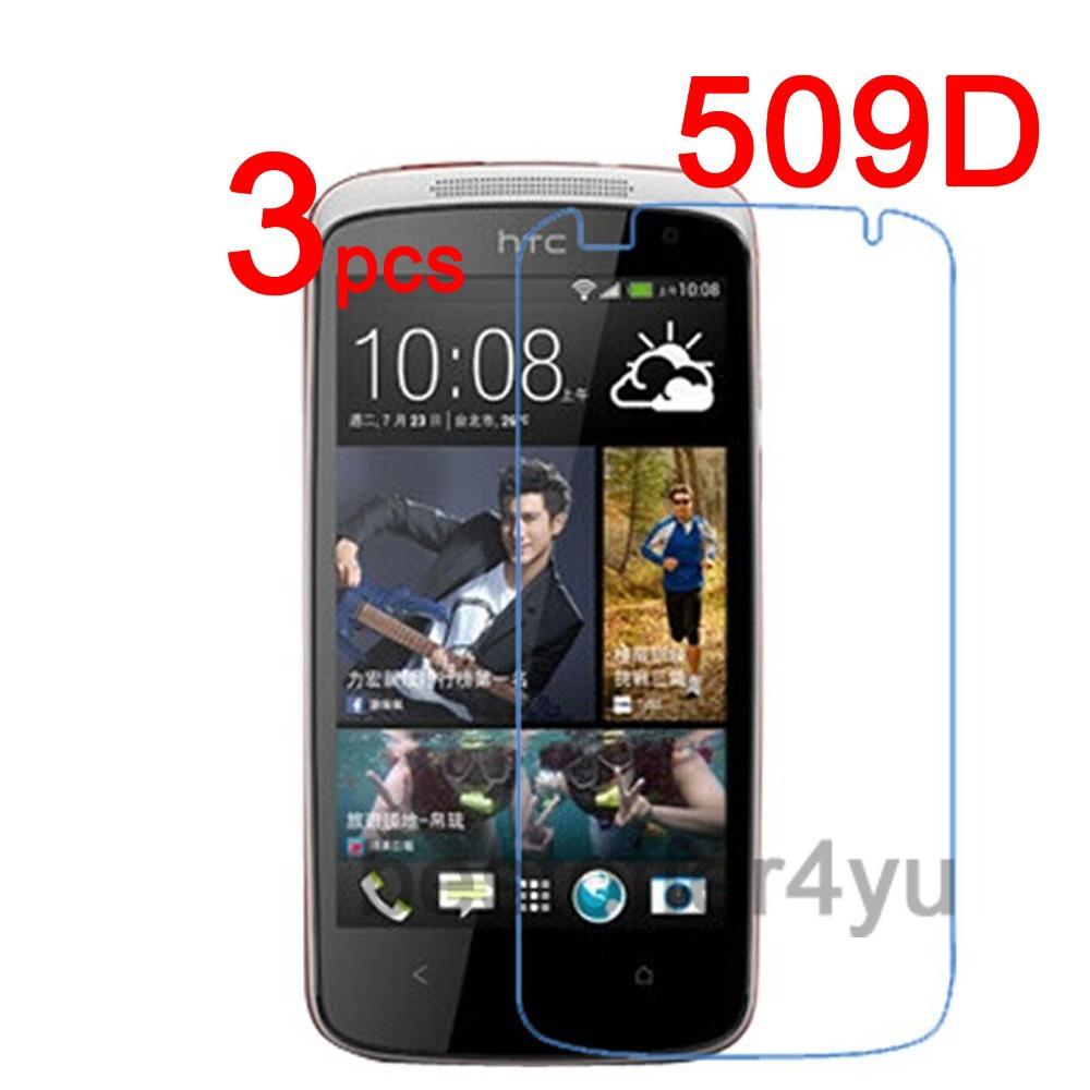 3 шт. защитная четкий жк-экран протектор гвардии пленочной оболочкой для HTC Desire 500 509D защитная пленка + ткань чистки