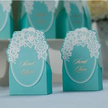 Бесплатная доставка 50 шт./лот тиффани синего цвета с белым кружевом коробка конфет для свадьбы свадебной и подарки коробка конфет