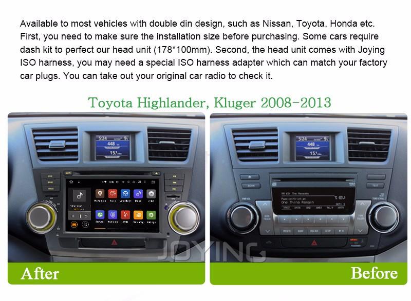 Купить 1024*600 Quad Core Android 5.1 для TOYOTA HIGHLANDER/Kluger 2008 2009 2010 2011 2012 2013 Автомобильный DVD Gps-навигация Радио Головного Устройства