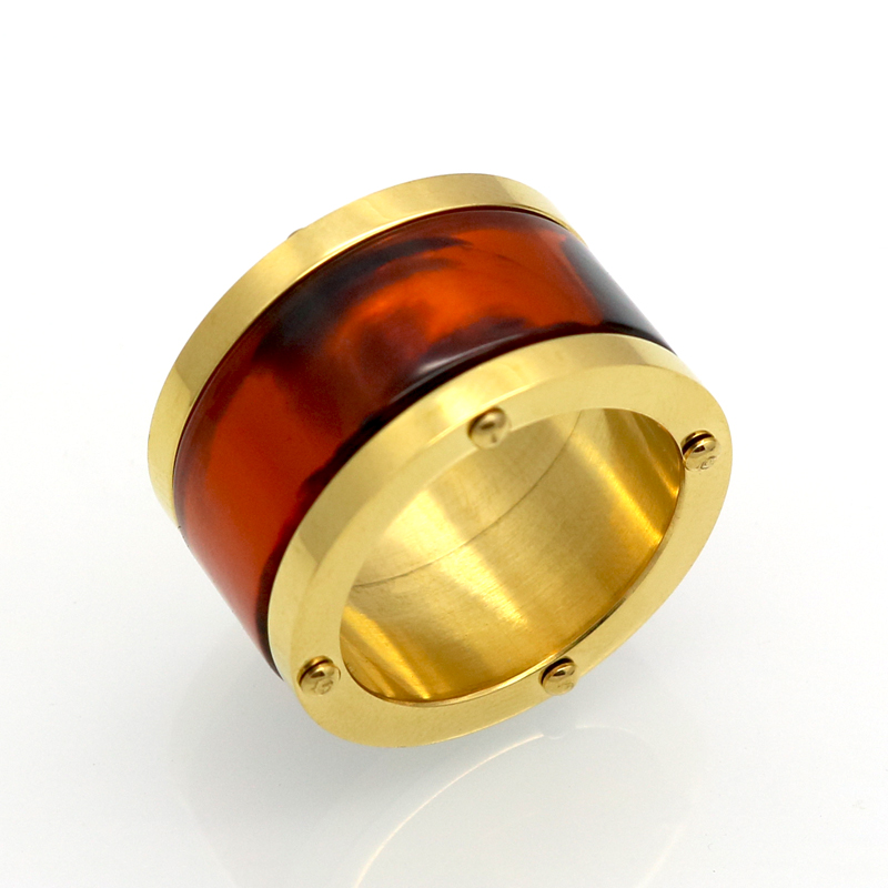 14mm Wide Men / Women Lovers Rings Stainless Steel Gold Plated Enamel Ring Jewelry Vintage Style Punk Finger Rings Men Jewelry(China (Mainland))