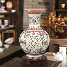 Luxury Chinese-style Palace Restoring Ancient Ways Jingdezhen Hollow White Ceramic Vase For Artificial Flower Decoration Vases(China (Mainland))