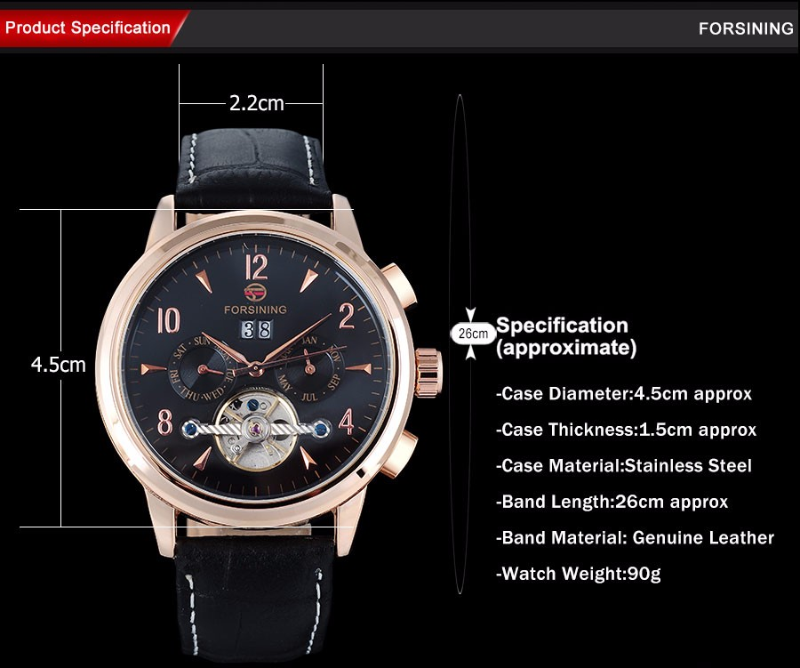 2016 НОВЫЕ FORSINING бизнес марка мужские часы авто Механические дизайн календаря часы tourbillion золотой количество наручные часы A848