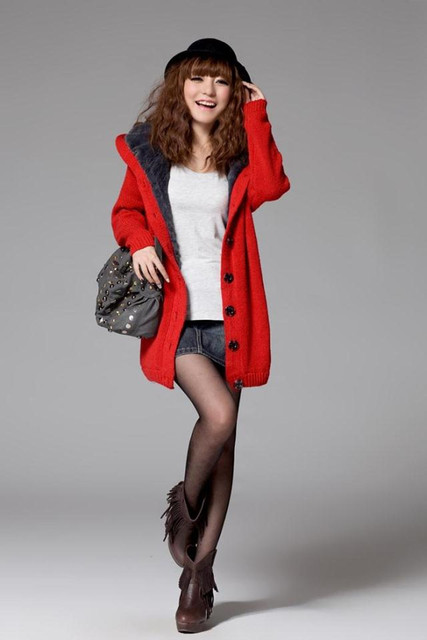 2015 Women Autumn And Winter Warm High Neck Hooded Sweater Coat Outerwear