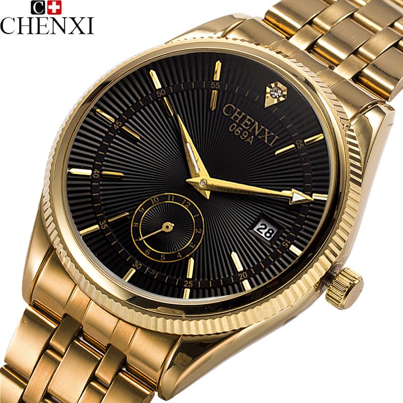 New 2016 Gold Watch Men watches Luxury Brand Famous Top Wristwatch Original Male Clock Golden Stainless Steel Wrist Watch Quartz