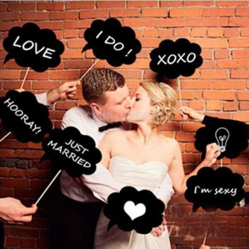10 Pcs /set Photo Booth Prop DIY Bubble Speech Chalk Board Wedding Party ideas Mini Chalkboard Signs with Stick decoration Y1(China (Mainland))