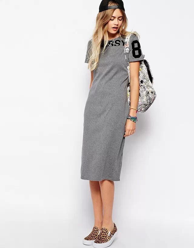 KQ08 Fashion Women elegant letter print sport gray dresses knee length O Neck short sleeve casual tunic vestidos sundress(China (Mainland))