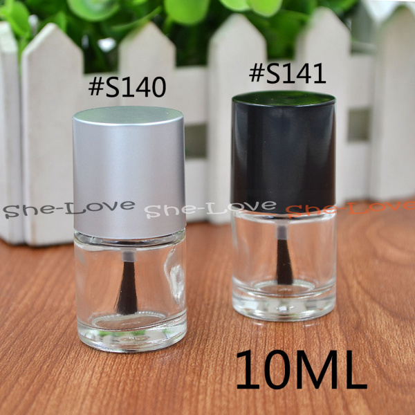 10ml Empty Nail Polish Bottle Glass Silver With Agitator Mixing Balls 1PC(China (Mainland))