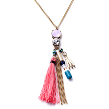 Ethnic Style Pendant 2015 Classic Women Fashion Daily Accessories Rope Tassel Long Necklace Wholesale
