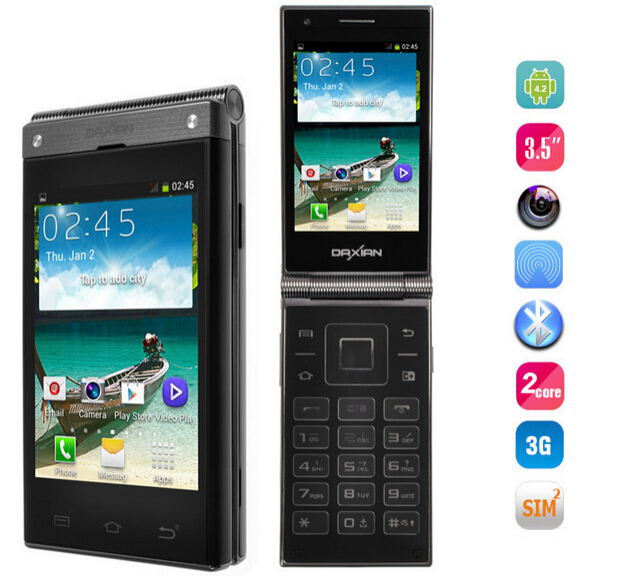 """Old man phone Daxian W189 Flip Mobile phone MTK6572 Dual core 512M+4G 3.5"""" IPS Dual Screen Android4.2 Russian Keyboard Supported(China (Mainland))"""