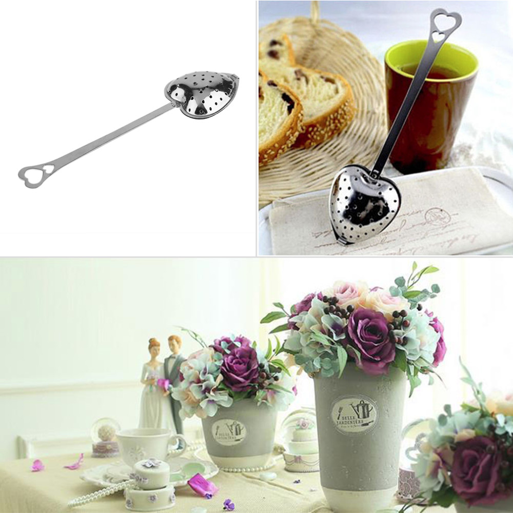 2Pcs Hot Heart Shape Stainless Steel Tea Leaf Herbal Filter Infuser Spoon Strainer  2Pcs Hot Heart Shape Stainless Steel Tea Leaf Herbal Filter Infuser Spoon Strainer