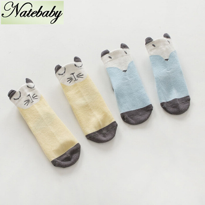 Boys and girls cartoon socks lovely cat little fox comfortable non skid socks 2pcs/set(China (Mainland))