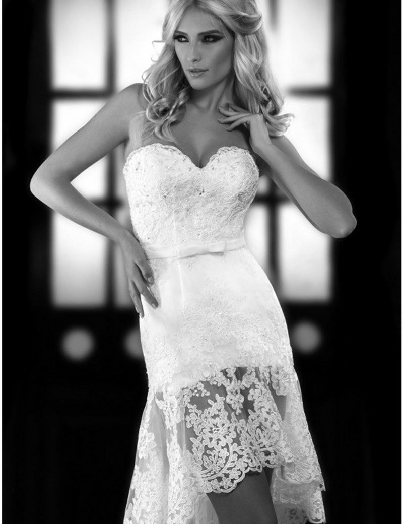 Fashion romantic high low short lace wedding dress 2016 for Short country wedding dress