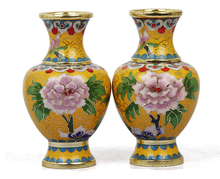 1pair/2pcs Vase Ornament 4inches Home Decoration Chinese Handmade Vintage Classic Cloisonne Enamel Craft Creative Gift(China (Mainland))